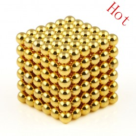 N42 216pcs Magnetic Buckyballs 5mm dia Sphere Neodymium Magnets Nickel(Ni-Cu-Ni) - color: Gold