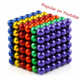 N42 216pcs Magnetic Buckyballs 5mm dia Sphere Neodymium Magnets Nickel(Ni-Cu-Ni) - color: Mixed